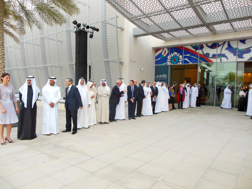 "UAE Nationals and diplomats line up for the ""Birth of a Museum"" opening, Abu Dhabi. Photo: Lucy Rees."