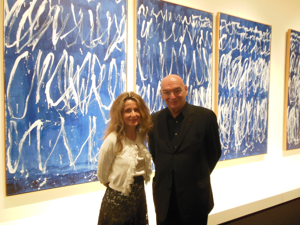 Architect Jean Nouvel and friend at the exhibition opening. Photo: Lucy Rees.