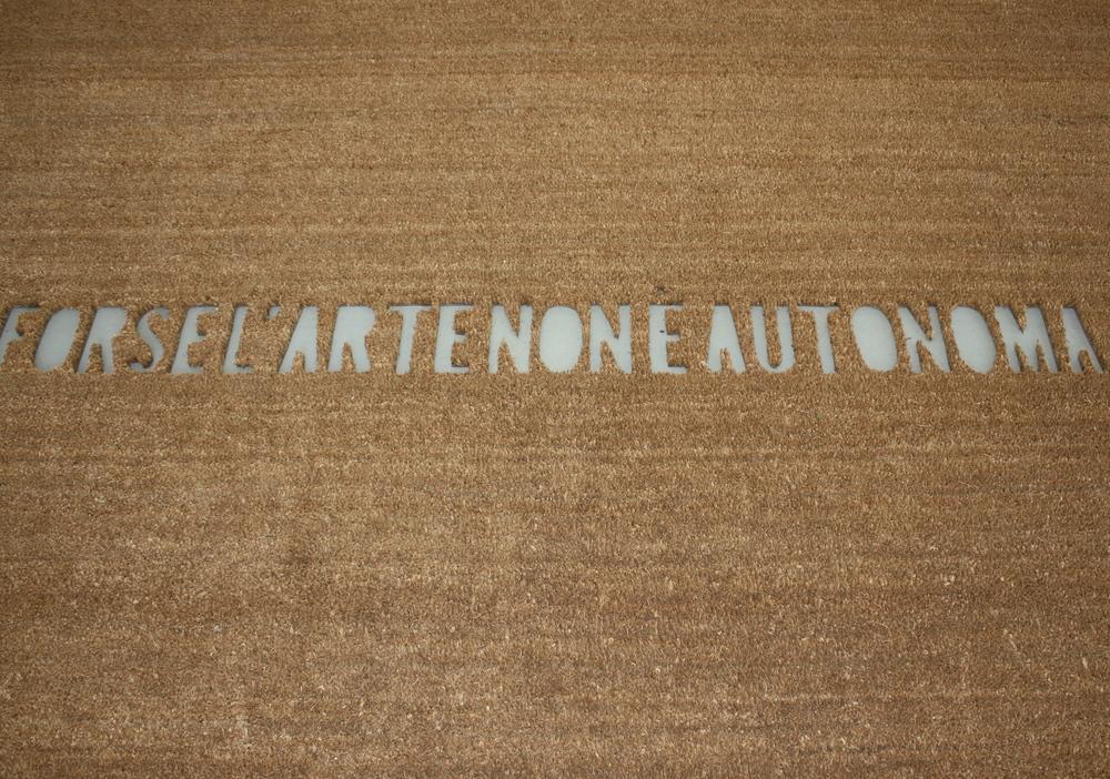 Fabio Mauri.   Forse L'arte non e' autonomia . Doormat cuts. 200 x420 cm.Fridericianum.© Lucy Rees