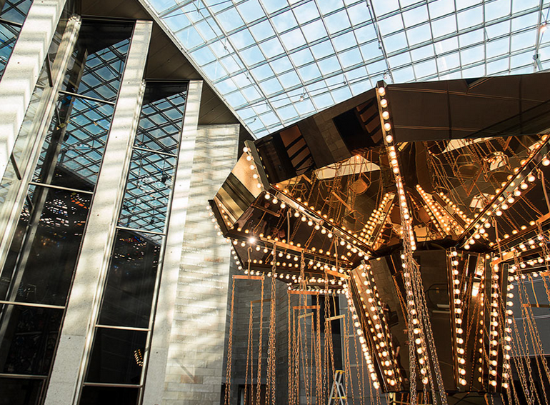 Carsten Höller, Golden mirror carousel, 2014.Photograph: Christian Markel.