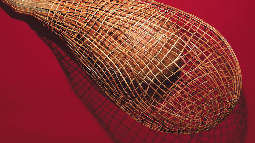 Sopheap Pich,  Cocoon 2 , 2011, Rattan, wire, burlap, beeswax with pigment. Collection: Gene & Brian Sherman. Photo: Brett Boardman 2013