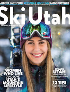 """At Home in the Mountains"" — Women who live and love Utah's mountain lifestyle, from pro skiers Angel Collinson and Caroline Gleich to ski patrollers, guides, and avalanche forecasters.  Ski Utah Magazine, Winter 2019"
