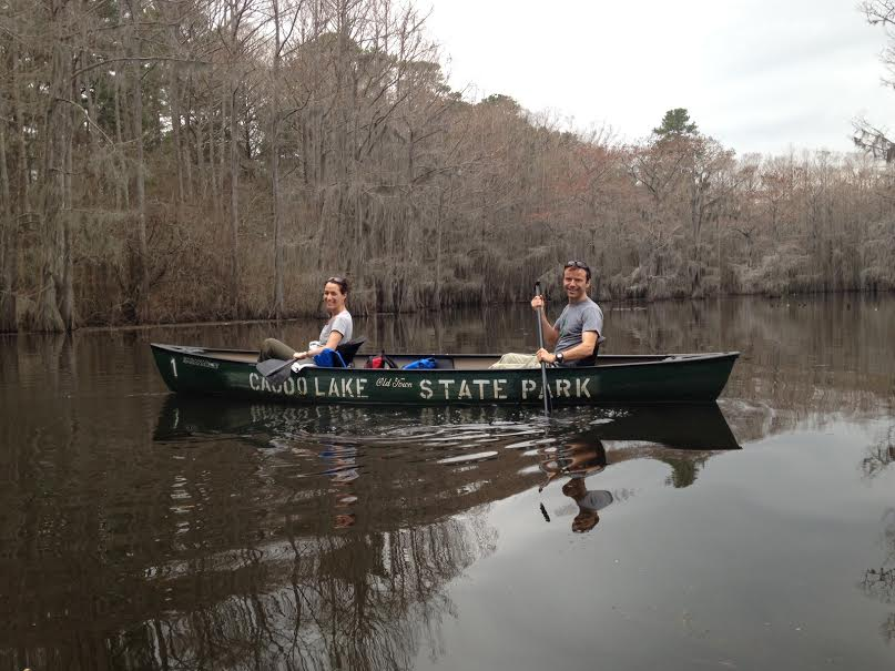 xaviera and her hubby caneoing in caddo lake! March 2014