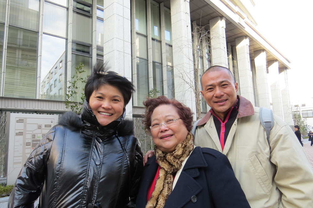 May Mom and Cliff - in front of Great Hall of Vow of Kosenrufu on Feb 18, 2014.