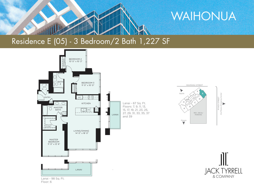 Waihonua 05 Unit (E) Floor Plan - Estimated Monthly Maintenance fee is $1,067.68
