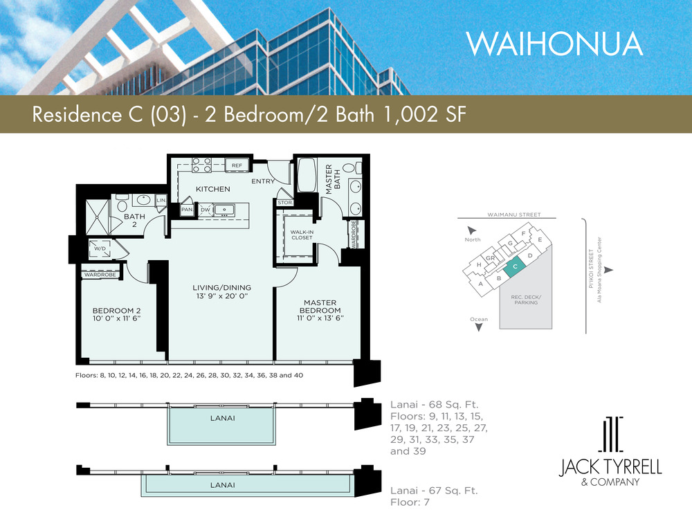 Waihonua 03Unit (C) Floor Plan -Estimated Monthly Maintenance fee is $897.71