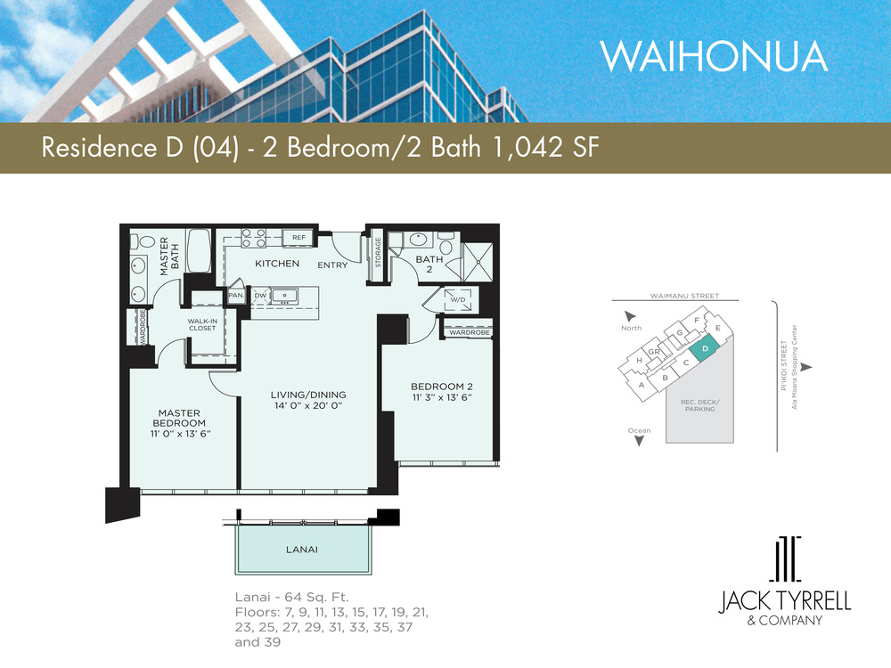 Waihonua 02 Unit (B) Floor Plan - Estimated Monthly Maintenance fee is $910.05