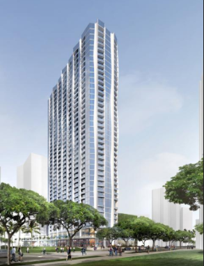 This rendering shows The Howard Hughes Corp.'s planned Koula mixed-use condominium in Honolulu. The 41-story building will have 570 units.  Photo: Pacific Business News