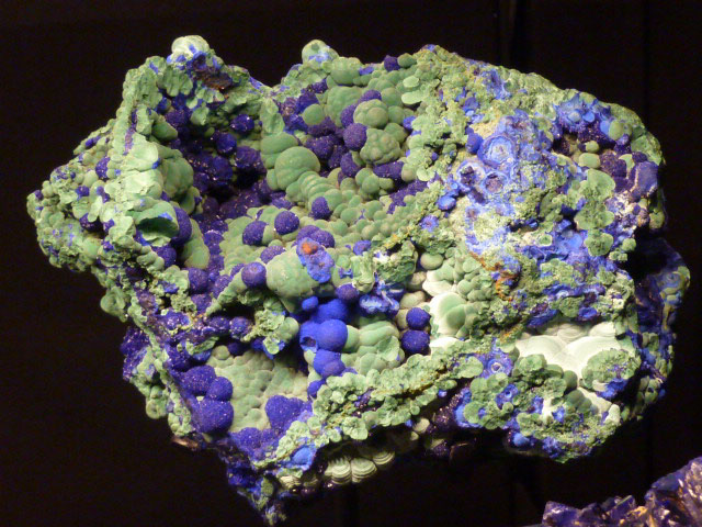 A specimen of azurite and malachite, one of the many spectacular mineral specimens in the exhibit.