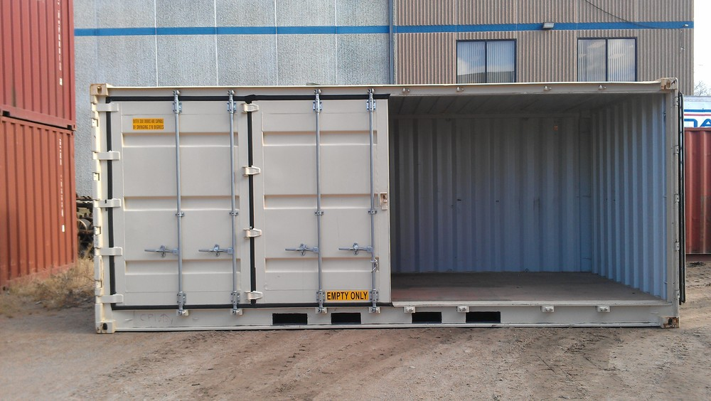 Open-side with right doors open 20' high cube container