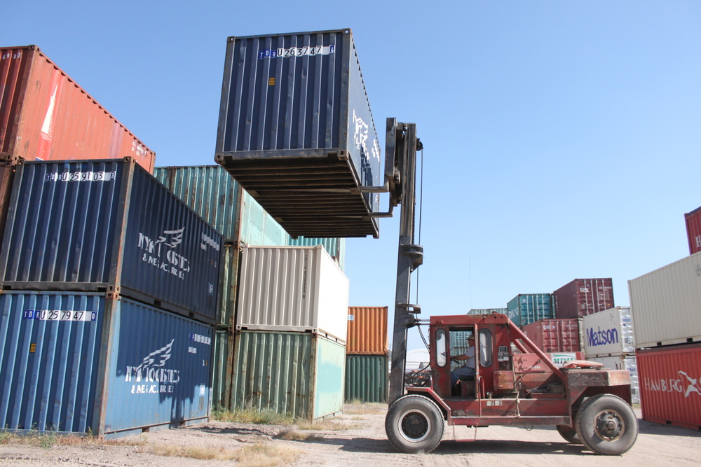 Forklift moving container