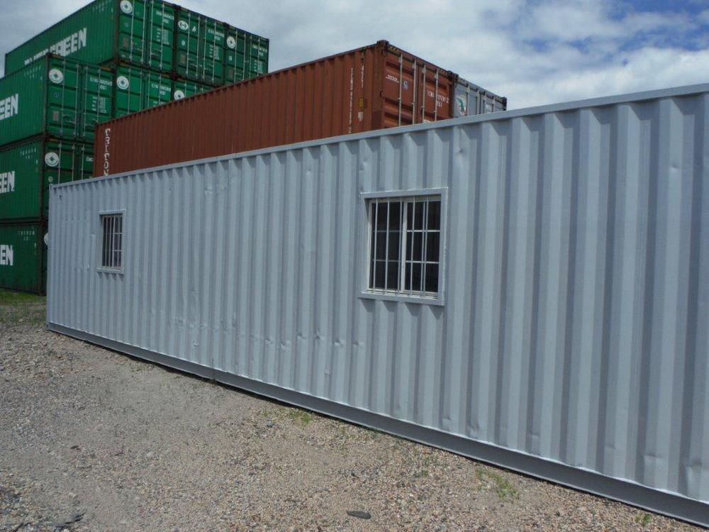 Container office with 2 windows