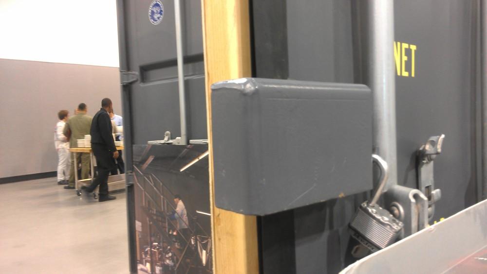 Lockbox welded to door