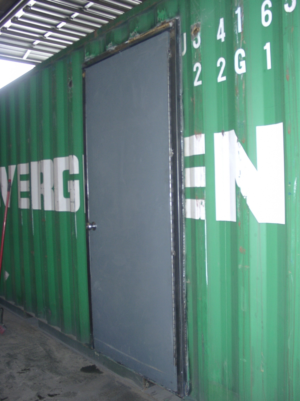 Man-door on used container