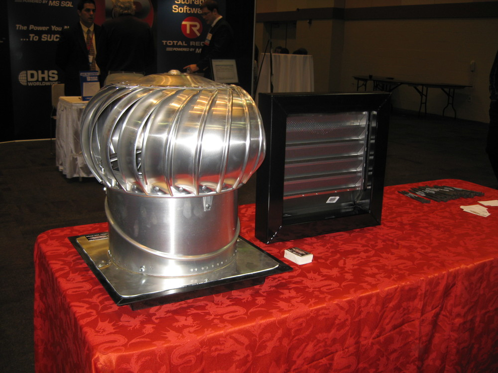 Turbine and louvered vents