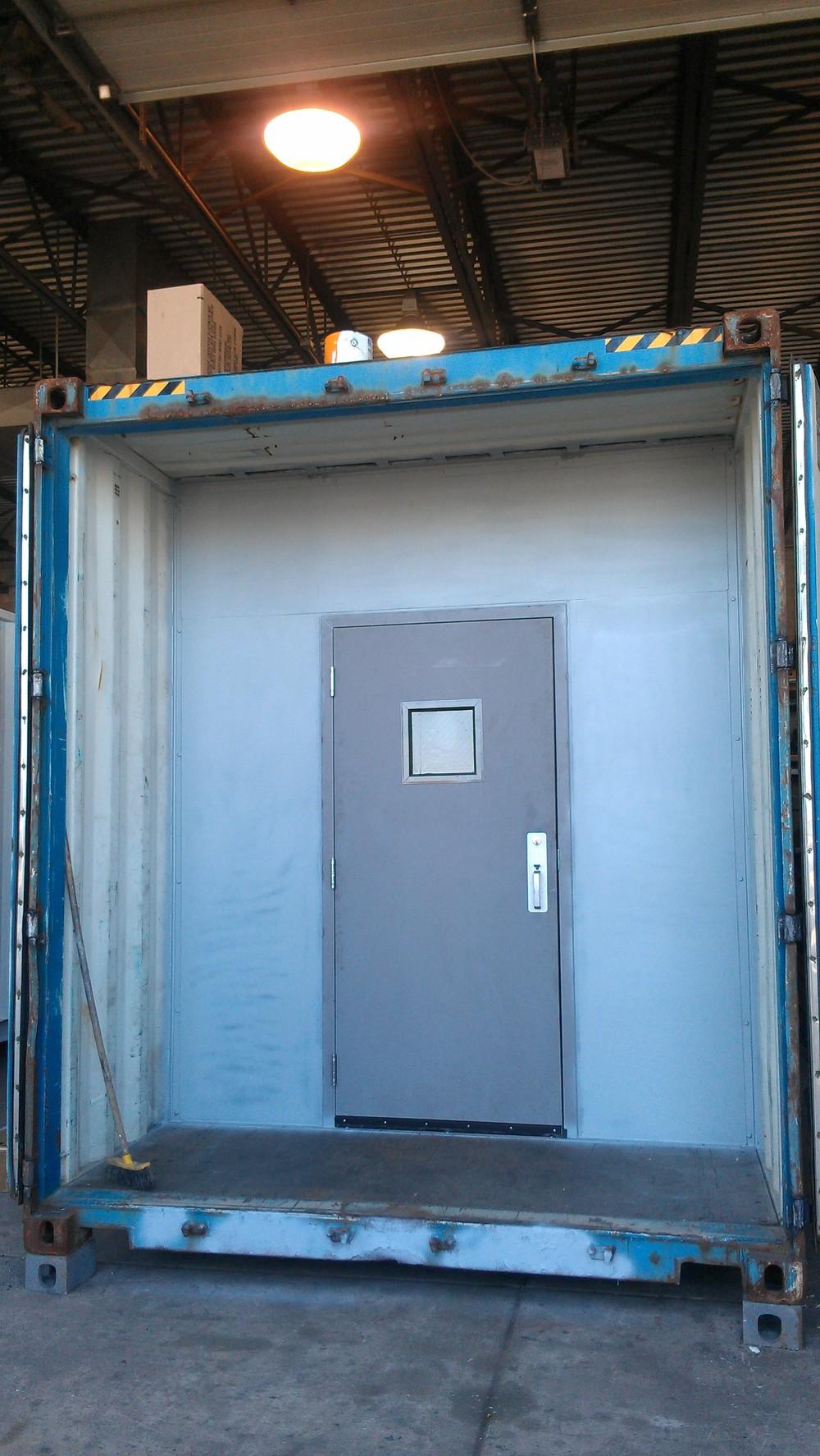 Partition with man-door