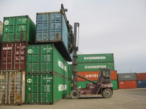 Container forklifts can stack higher than standard forklifts