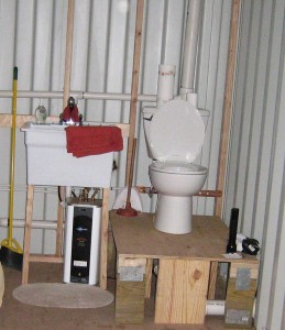 Plumbing sink and toilet