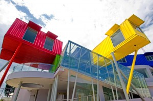 colorful containers on thin columns image © ganny gozaly, dpavillion architects and designbloom.com