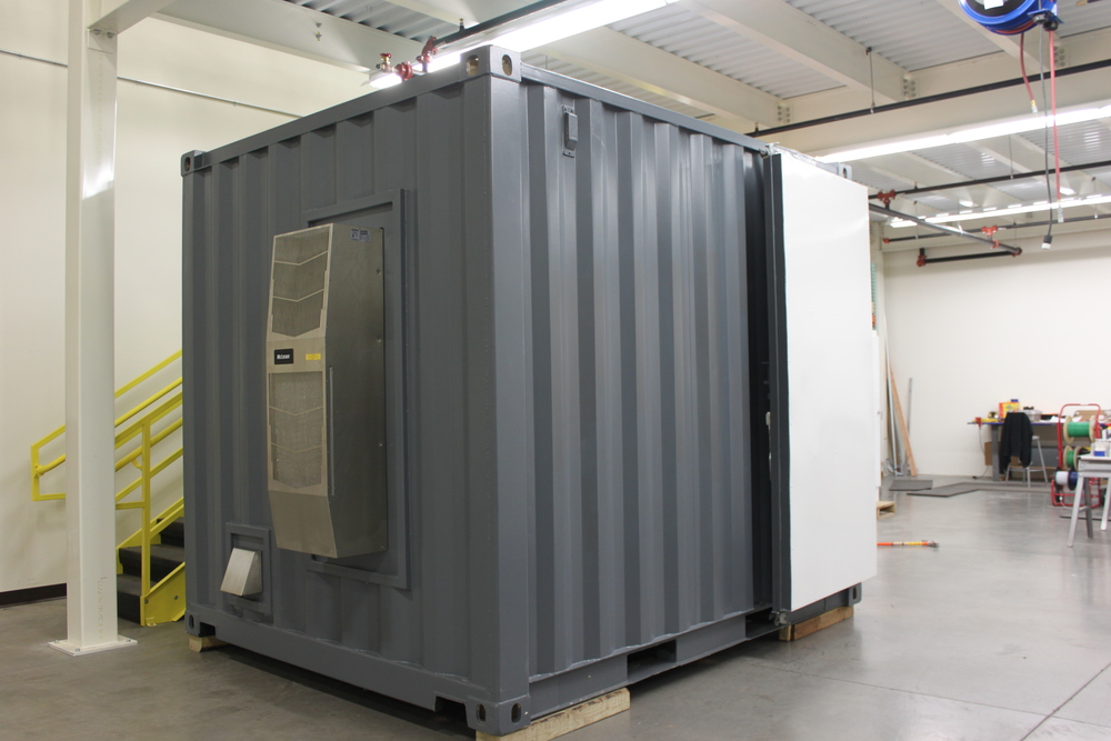 Containers won't get hot in the winter or cool in the summer unless you actually do something to change the temperature. Here is an HVAC unit on a specialty 10' container.