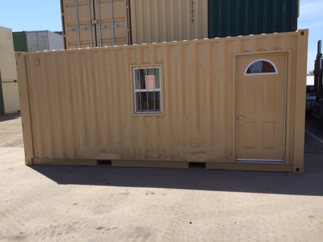 Container office with man-door and painted beige.jpg