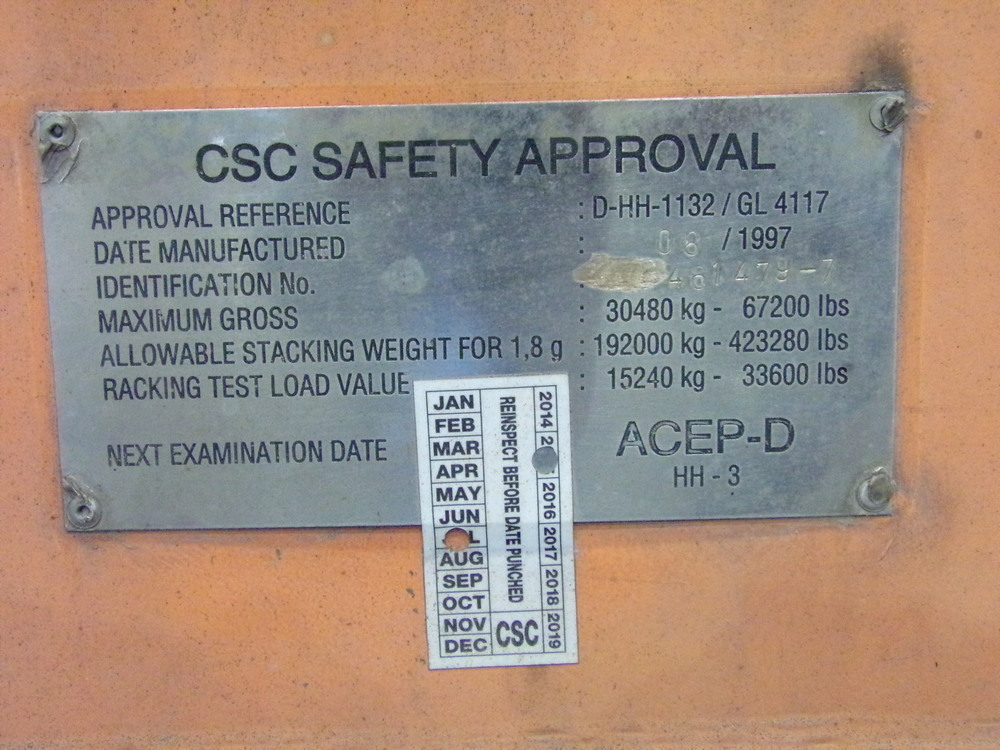 CSC plate with surveyor sticker