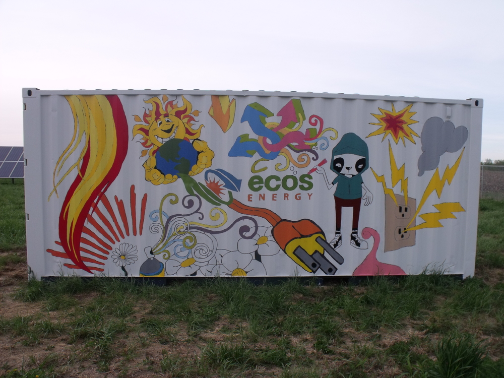 Super Cube's customer held a contest with the local high school to design a mural for the container placed at a solar energy farm.