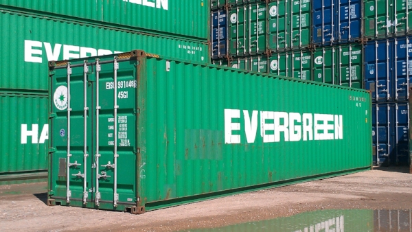 Green 40' high cube container