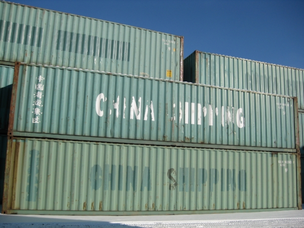 Green 40' containers