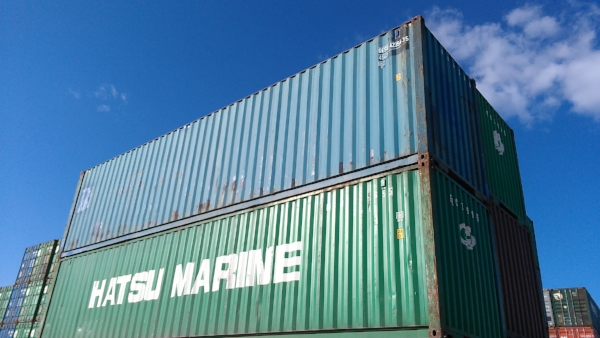 Blue and green 40' container
