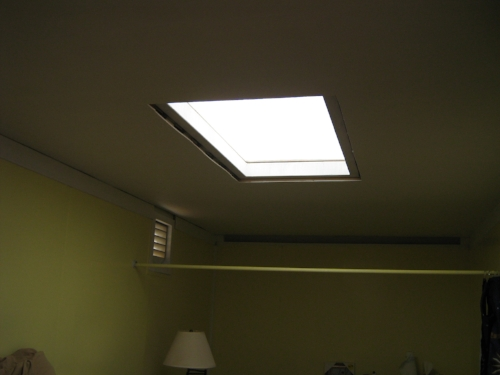Skylight kit installed