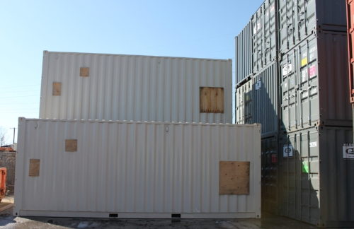 Multiple containers modified and ready to go on customer's schedule