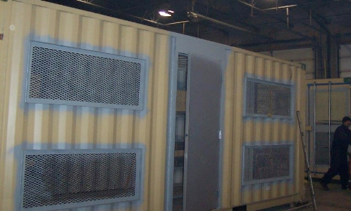 Large vents installed on container (pre-painting)