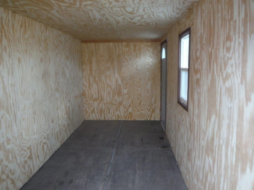 Office container with plywood for interior walls