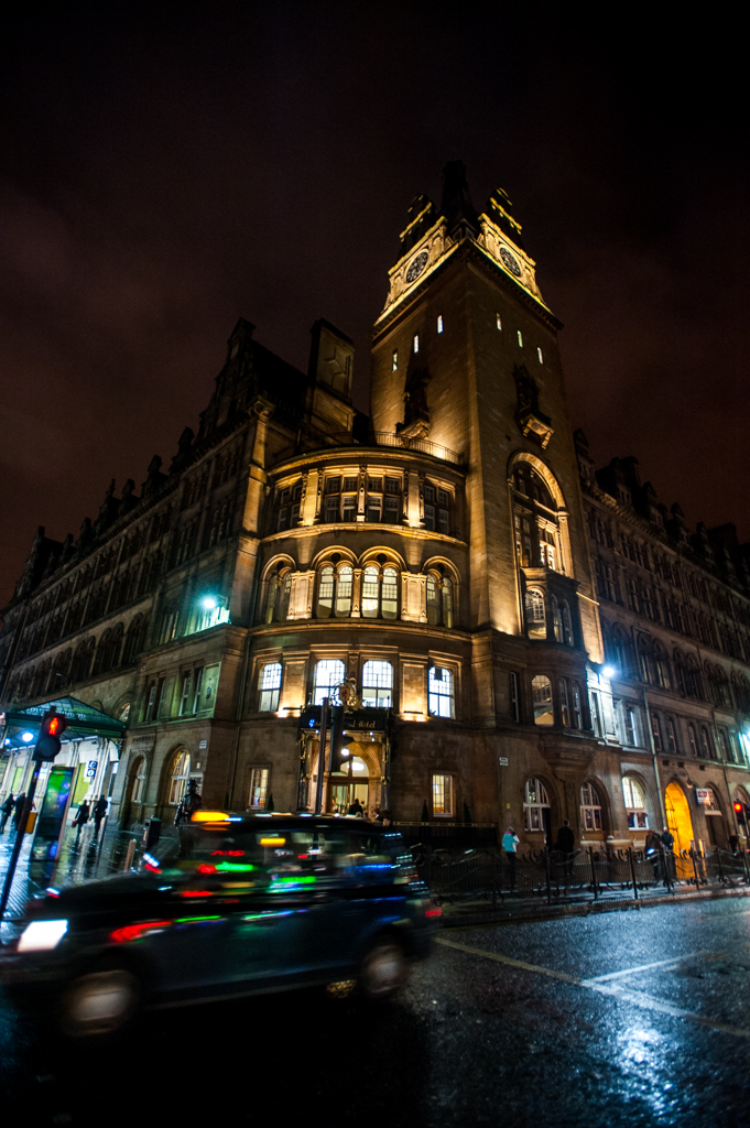By suppertime, I was checked in at the beautifully restored Grand Central Hotel, and headed through the rainy streets of Glasgow for beef pie and ale at the Drum & Monkey.