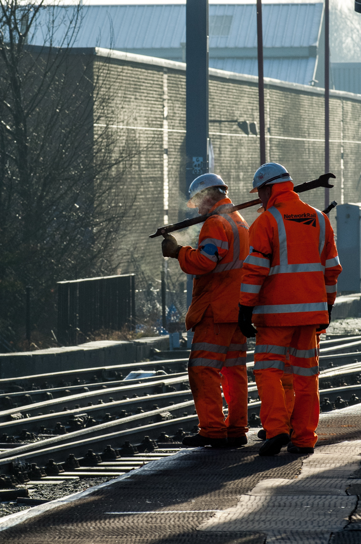Network Rail workers tend to the maze of trackage in Citadel Station.