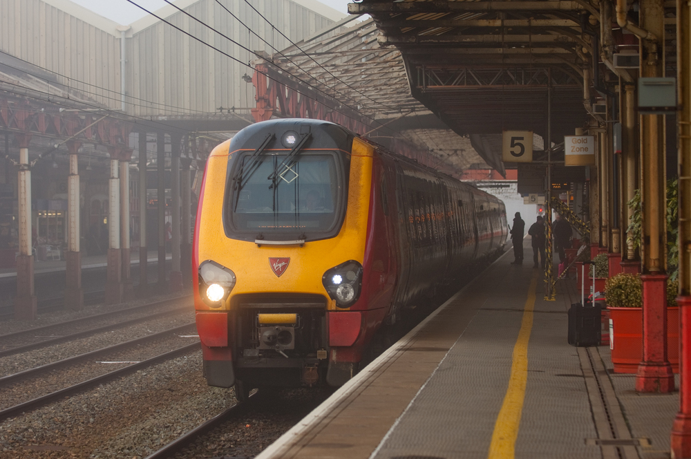 My ride from Warrington Bank Quay, Virgin Trains Super Voyager 221109 departs Crewe.