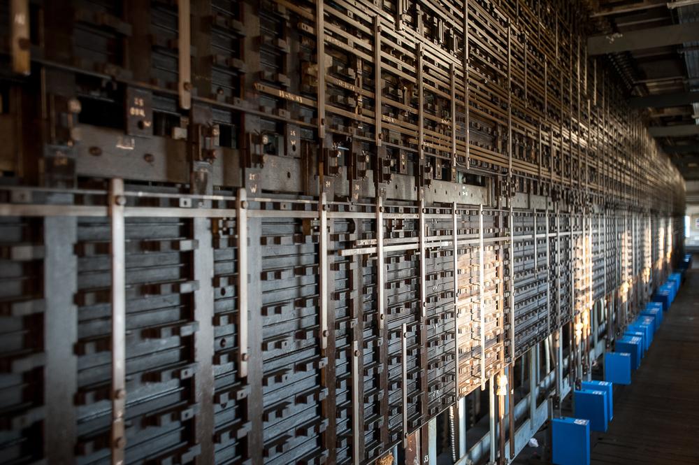 Below the operating room: the inner workings of Severn Bridge Signal Box.