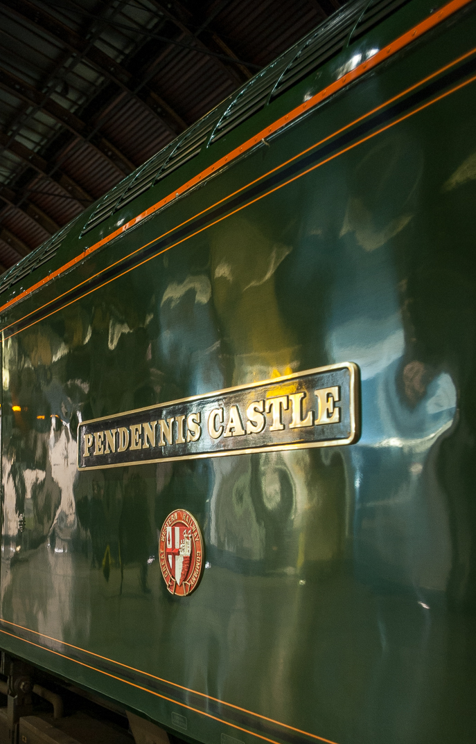 Saluting its Great Western heritage, the Night Riviera's Class 57/6 locomotives are christened with names once carried by GWR Castle class 4-6-0 express engines. In honour of GWR's 175th anniversary in 2010,  Pendennis Castle  is adorned in GWR Brunswick green.