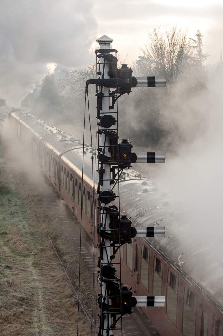 Semaphores, working steam, and a seven-car rake of Mk 1 carriages on a double-track main line in 2012! Who needs a time machine?