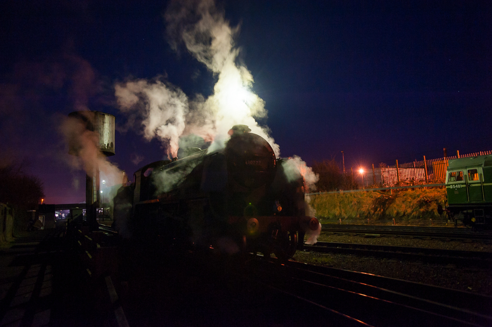 BRCW Type 2 D5401 looks on as Sir Lamiel  heads back to Loughborough shed at the end of a working day.