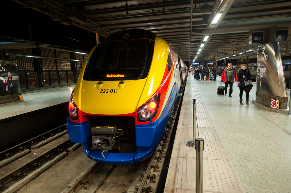 East Midlands 222011 at London St. Pancras, is there a better looking DMU in all of Britain?