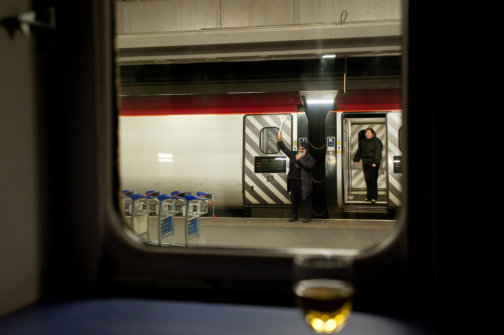 Night cap on the Caledonian as a Pendolino pulls out of Euston.