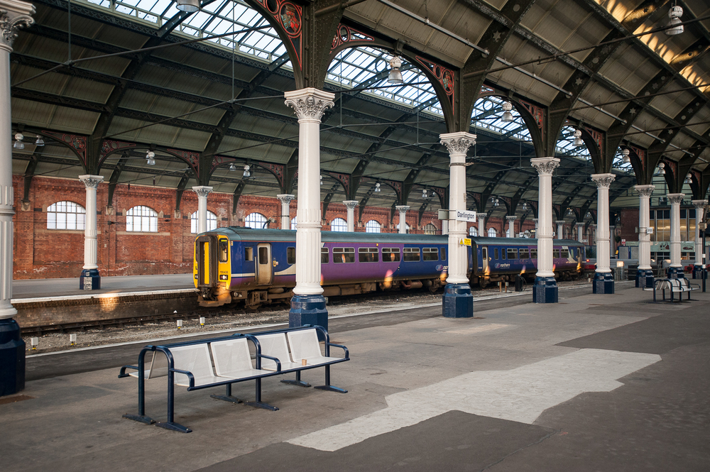 Northern Trains Class 156 Super Sprinter DMU No. 156438 waits to depart Darlington for Saltburn.