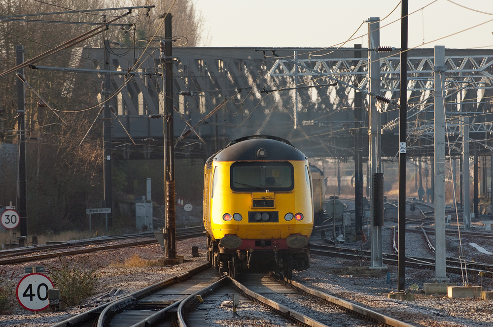 Network Rail's New Measurement Train works southward from York.