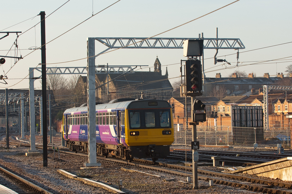Hull service worked by Northern Class 142 Pacer No. 142024 pulls into York.