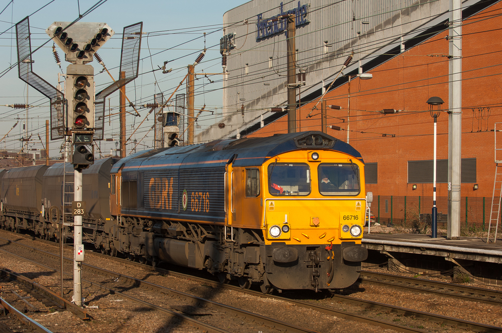 Canadian-built Class 66 EMDs are a staple of freight services on the ECML. GBRf No. 66716 works a southbound coal train through Doncaster.