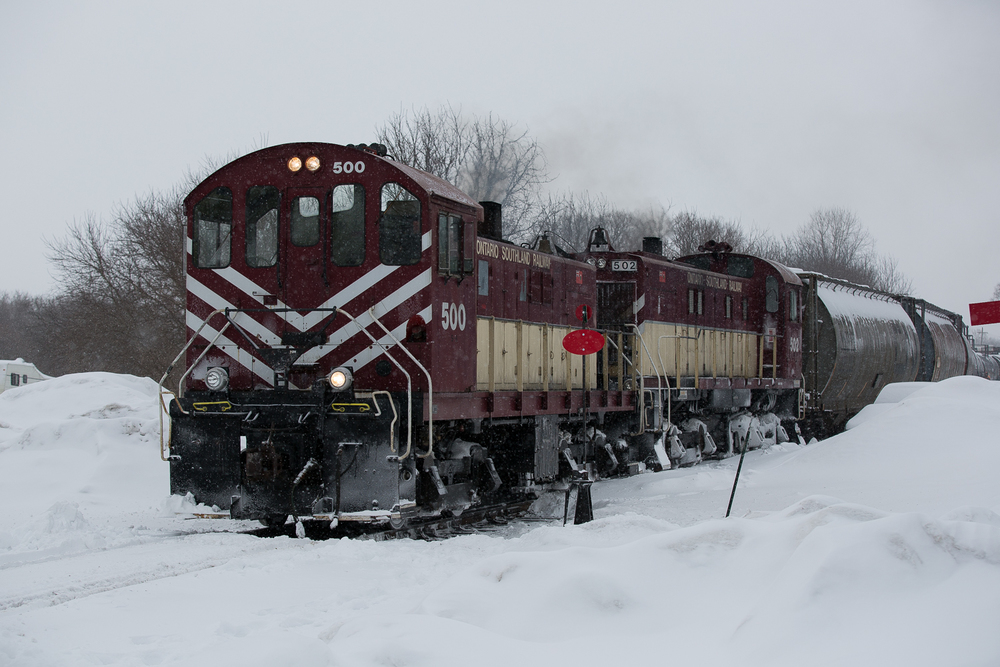 OSR 500 and 502 build their Tillsonburg-bound train at Ingersoll.