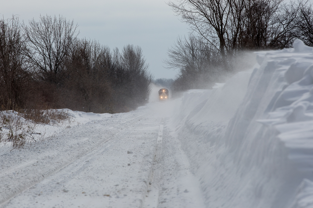 The wind never stops. Drifts are reforming yet again as OSR 378 and company approach Mount Elgin.