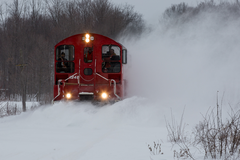 Help, in the form of the 10:00 Woodstock crew and every locomotive the Salford shop could muster, rides to the rescue of the stalled Tillsonburg train.